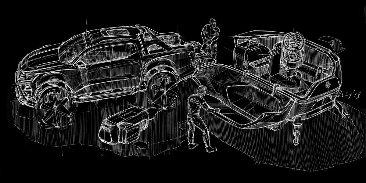 Nissan avalikustas mobiilse kosmoseobservatooriumi: ideeauto Nissan Navara Dark Sky Concept